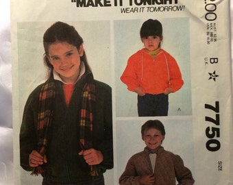 1981 McCall's pattern # 7750 Childrens Size 6, Jacket, Uncut