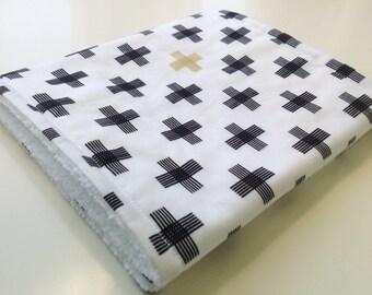 Geometric Burp Cloth - Monochrome Burp Cloth - Black and White Burp Cloth - Modern Baby Burp Cloth - White Sparkle Crossweave Burp Cloth