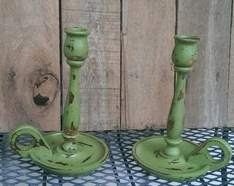 Wooden Taper Candle Holders Vintage Pair