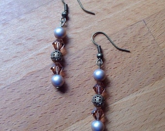 Antique brass bronze swarovski pearl and crystal earrings