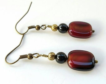 Red and black earrings, red bohemian earrings, Black red earrings, bohochic earrings, red jewelry for her, red black jewelry,