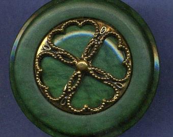 Vintage Button, Plastic Green w Brass Tetrad Pattern, Large