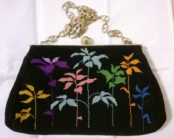 Beautiful Needlepoint Black Evening Purse - Vintage