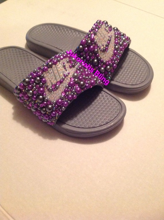 f3cf74c1d1ffd1 Bling nike slides nike shoes accessories by Jukoriahsbling on Etsy best