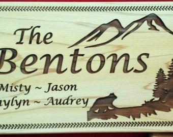 Custom Cedar Sign (Bear & Mountains)