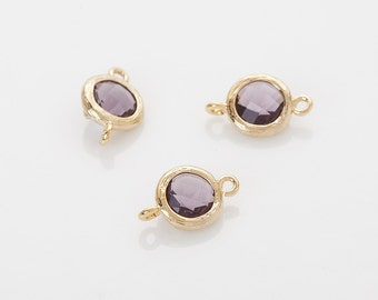 Tanzanite Round Glass Connector  Polished Gold -Plated - 2 Pieces [SS0028-PGTZ]