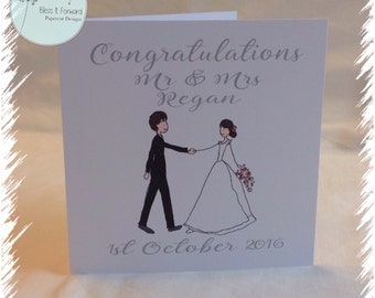 Personalised Wedding Card - Mr and Mrs Card - Congratulations wedding card - bride and groom