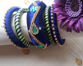 Blue andgreen Handcrafted Silk Thread bangles - green and Clear Rhinestone Studded Bangles - silk thread bangles-Size 2.6-Bangle Bracelet