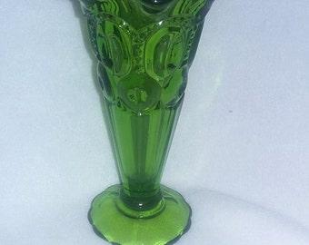 """L E Smith Green Moon and Stars 6 3/8"""" Vase"""