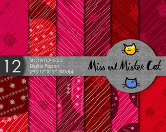 "Christmas Digital papers, Scrapbook papers, commercial use, background in Jpg. 1 Pack of 12 papers model ""Snowflakes 3""."