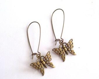 Butterfly Earrings, Antiqued Brass Butterfly Earrings, Nature Jewelry, Butterfly Jewelry, Pierced Dangle Earrings
