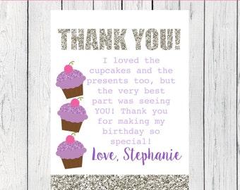 Cupcake Thank You Card Personalized  ***Digital File*** (Cupcake-WarGold Thx)