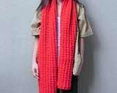 Handknit, Chunky, Oversized Scarf, Red Scarf, Winter Scarf, Fall, Extra Long Scarf