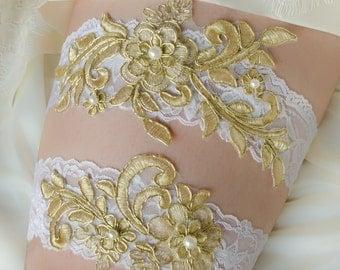 Wedding Garter Set, Bridal Garter, Gold and Pearl Garter, Gold Lace Garter, Keepsake and Toss Garter Set- RUE GARTER SET