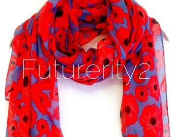 Small Red Poppy Blue/Grey Summer Scarf Spring Scarf / Gift For Her / Womens Scarves / Fashion Accessories