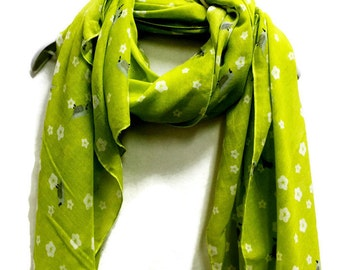 Small Birds And Flowers Apple Green Scarf / Spring Summer Scarf / Autumn Scarf / Gifts For Her / Accessories / Women svarves