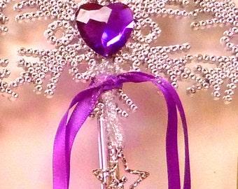 FAIRY WAND LAVENDER Princess Wand Silver Fairy Charm Wand Heart Wand Mystical Wand Celestial Wand & Heart Wand