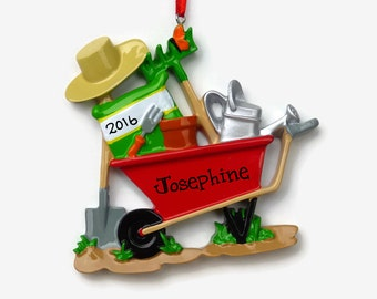 SHIPS FREE - Gardener Personalized Ornament - Gardening - Wheelbarrow