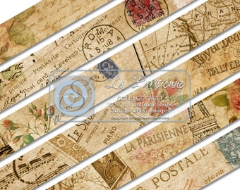 Scrapbook Elements, Collage Sheet, Journal Strips and Tape, Embellishments, Scrapbooking, Card Making, Paper Craft Supplies - La Parisienne