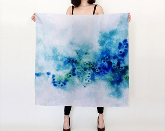 Blue, Green and Turquoise , Ocean inspired, Watercolor Silk Scarf, Original Abstract Watercolor,