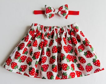 Strawberry Skirt, Girls Skirt, Cotton Skirt, Baby Skirt, Toddler Skirt, Skirt Set, Baby Girl Skirt, Girls Clothing, Baby Clothes