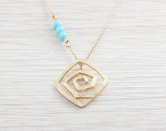 Gold Plated, Simple Square Swirl Charm Beaded Chain, Necklace