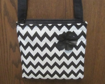 Black & White Chevron Canvas Purse