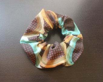 Brown and blue circled hair tie/fabric hairband