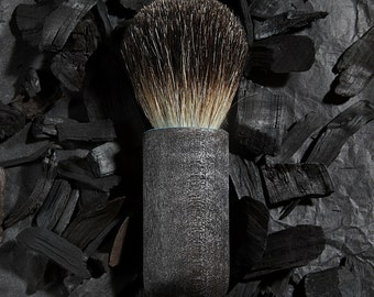 Ready to Ship - Black Badger Shave Brush with Shou-sugi-ban handle