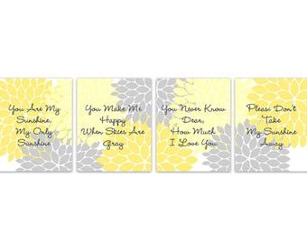 You Are My Sunshine Nursery Wall Art, Yellow and Grey Nursery, Nursery Quote Art, Baby Girl Modern Nursery Art - KIDS200
