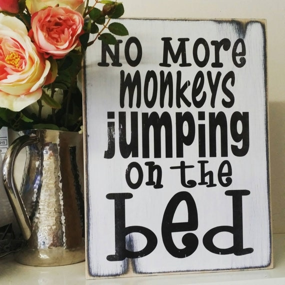 no more monkeys jumping on the bed shabby chic by rusticwoodco. Black Bedroom Furniture Sets. Home Design Ideas