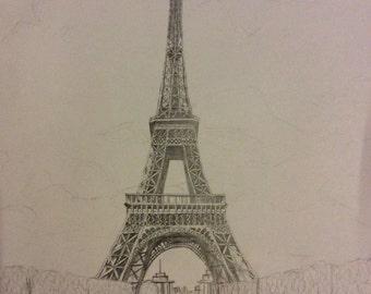 The Eiffel Tower, Pencil Art Print. Standard A4 paper/Matte paper
