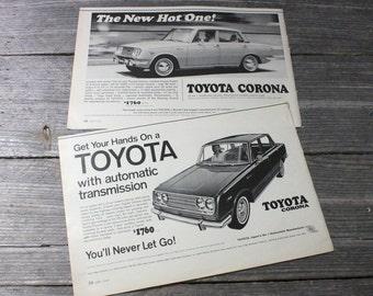 Pair of 1960s Toyota Coronoa magazine ads from Look Magazine