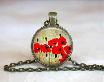 RED POPPY Pendant •  Poppy Key Ring •  Vintage Flower Necklace •  Flower Jewelry • Gift Under 20 • Made in Australia (P0179)