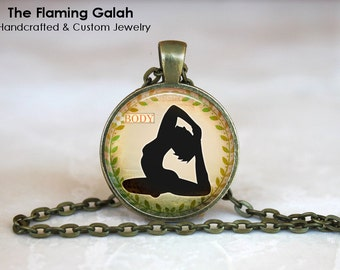 "YOGA POSE Pendant •  ""Body"" Namaste •  Yoga Jewellery •  Meditation Gifts •  Pink Yoga Gift • Gift Under 20 • Made in Australia (P0336)"