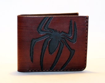 Leather wallet with Spider man logo, brown wallet, great leather item, brown men's wallet, credit card wallet, gift for men.