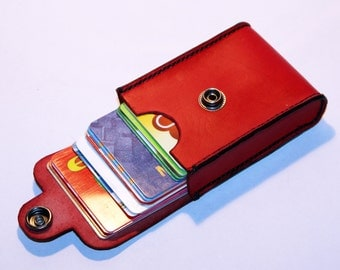 Credit Card Holder leather , Business Card Holder, Red Leather Credit Card Wallet, Red Card Holder. Great Gift.