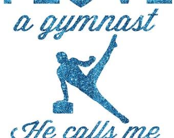 I Love a Gymnast Boy Iron On Decal