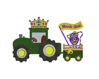 Mardi Gras Tractor Filled Machine Embroidery Digitized Design Pattern Applique  - instant download - 4x4 , 5x7, 6x10