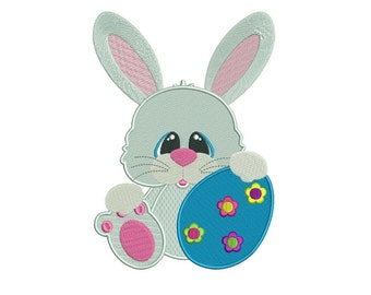 Easter Bunny Egg Filled Machine Embroidery Digitized  Design Pattern - Instant Download - 4x4, 5x7, 6x10