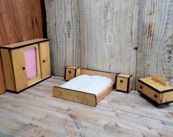 Vintage Bedroom Furniture for Dollhouse, Bedroom Set, Wooden Furniture for Dollhouse, Made in Bulgaria 1960s