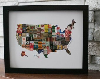 United States of America Map Matchbooks Colorful