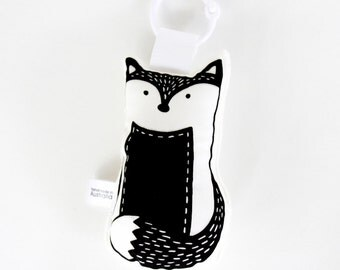 Organic Hand Printed Fox Rattle Toy - Handmade - Black White - Monochrome - Woodland Animal - Baby Toy