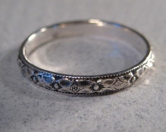 Sterling Silver Art Carved Orange Blossom Thin Wedding Band