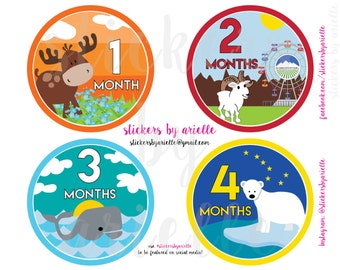 Month by Month Baby Stickers - Alaska Wildlife Theme