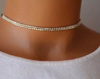 Sterling silver choker necklace, silver beaded choker, minimalist choker necklace, womens choker, gift for her, dainty silver choker