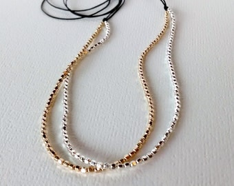 Silver and gold beaded necklace, beaded necklace, women's necklace, gold necklace, minimalist beaded necklace, gifts for her,
