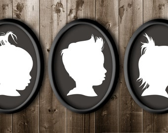 Extra Large Set of 3 11x14 Traditional Profile Silhouette, Custom Silhouette from your photo, Silhouette Art, 3 Children Silhouette Portrait