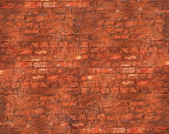 3x4 Tuscany Brick Wall Backdrop / Red Brickwall Photo Backdrop - Durable Vinyl Photography Background - FabVinyl 3x4ft (FV0900)