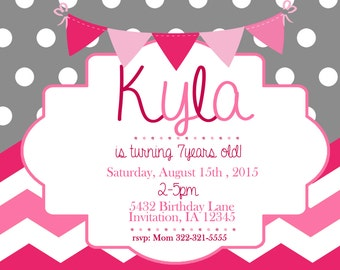 Pink & Grey Girl Birthday Invitation Printable